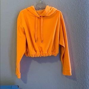 orange cropped hoodie, diy elastic waistband